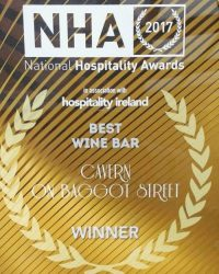 "Cavern is in the top 3 Ireland's ""Best Wine Bars"" 2017 by National Hospitality Awards!"
